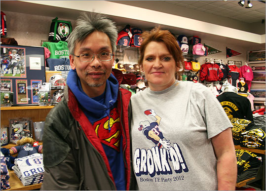 Tom Yee of Quincy and Tammy Baron of Everett were checking out Patriots gear inside Sports Collection at the Cambridgeside Galleria. Baron, who is a big fan of tight end Rob Gronkowski, had some predictions for the Patriots come Feb. 5. 'I think it's going to be close, very close. A nail biter, for sure,' Baron said. 'But we're going to pull through. As long as Brady and Gronk are on their game.'