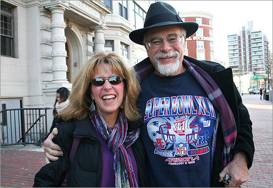 Lea and Bary Elkin of Lexington were hoping to find a place to watch the game where they both would feel comfortable. (Barry is a Giants fan while Lea likes the Patriots.) 'We have what you called a mixed marriage,' Barry said. As for superstitions about the Patriots, Lea said she only has one: 'If they're winning, then I have to keep watching. But if they're losing, then I need to leave the room.'