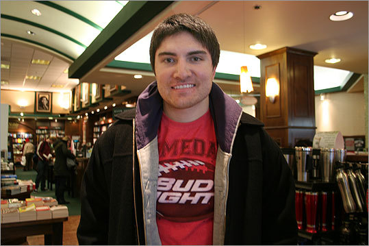 Alex Lippincott of Swansee, N.H., plans to watch the game with his roommates. 'Last year we cooked a whole bunch of wings and different sauces,' he said. And as for predictions about the outcome of the game, Lippincott is hoping it'll be a bright day in New England. 'I think the Patriots are going to win 21-17. Hopefully Eli [Manning] gets knocked out.'