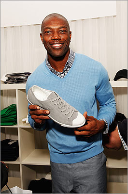 Former NFL star Terrell Owens, who most recently played for the Allen Wranglers of the Indoor Football League, checked out some shoes.