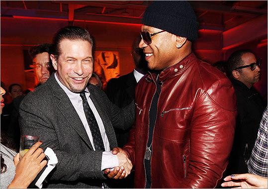 Actor Stephen Baldwin (left) gave a hearty greeting to LL Cool J, who performed at the party.