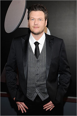 Lambert's husband, Blake Shelton, wore a tasteful suit.
