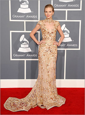 Nominee Taylor Swift wore a flowing dress.