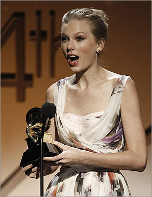 Before the televised performance, Taylor Swift gave her standard shocked face as she accepted the best country solo performance award.