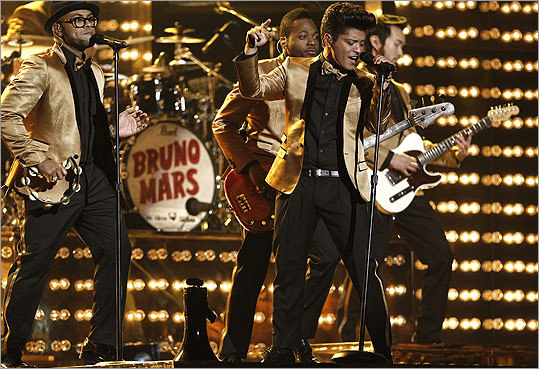 Bruno Mars gave a fiery performance of 'Runaway Baby,' which included his take on a James Brown scream.