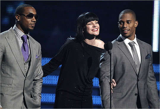 If it's any consolation to Patriots fans, Pauley Perrette (center) seemed to have only a slight idea who New York Giants Mario Manningham (left) and Victor Cruz are. Cruz showed off some salsa moves.