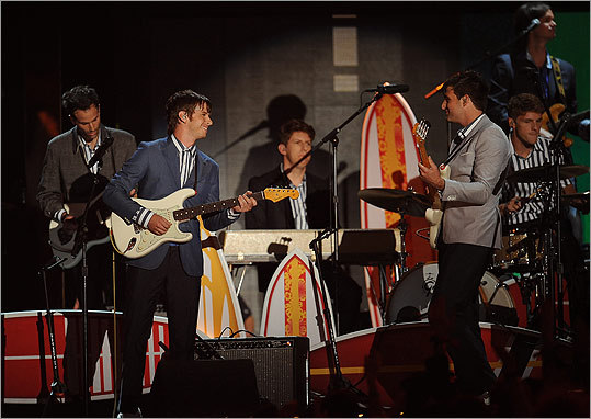 The group Foster the People laughed after flubbing a harmony to 'Wouldn't It Be Nice' during a tribute to the Beach Boys.