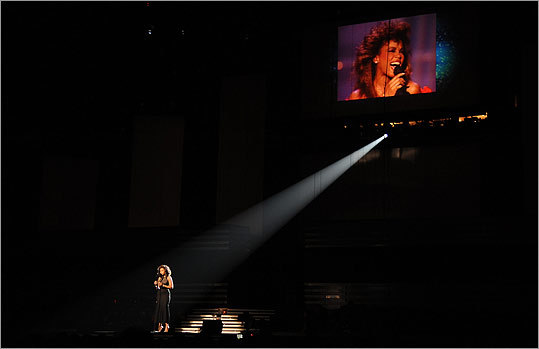 Silhouetted by a single spotlight, Jennifer Hudson sang 'I Will Always Love You' in memory of Houston.