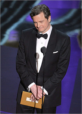 Colin Firth, last year's best actor, presented the award for best actress.
