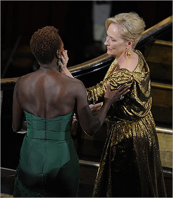 Streep was congratulated by fellow best actress nominee Violet Davis of 'The Help' before Streep accepted the award.