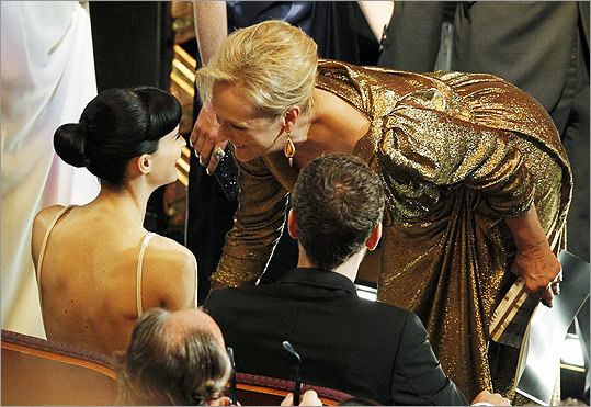 Meryl Streep (right), best actress nominee for her role in 'The Iron Lady,' chatted with Rooney Mara, a fellow nominee for 'The Girl with the Dragon Tattoo.'