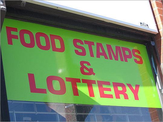 'So this is basically what you're going to see in mostly every corner store: food stamps and lottery. Perfect, huh? Great combination, food stamps and lottery. The lottery gives the poor people dreams to win something that they're probably never going to win. Giving your money away to try to have that one chance out of a billion,' wrote Iesha.