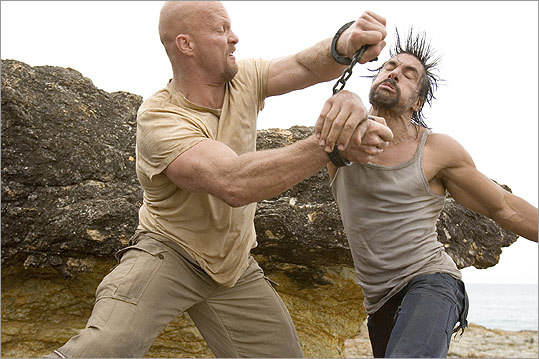 The Condemned This 2007 vehicle hauled by professional wrestler Steve Austin (left) again throws criminals into the ring, having them battle to the death as part of a live broadcast. Hmm, more carnage on TV? Kind of 'Hunger Games'-esque, eh?