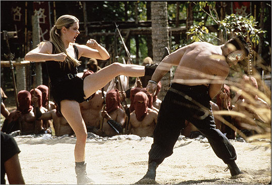 Mortal Kombat Another video game-turned-action movie, this 1995 beatdown fest pitted the game's characters like Sonya Blade (Bridgette Wilson, left) against competition like Kano (Trevor Goddard).