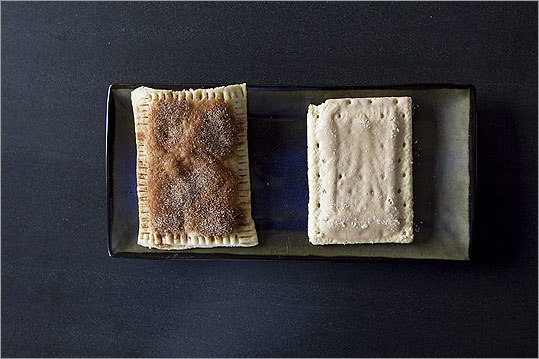 Side-by-side, a homemade toaster pastry and a Pop-tart.