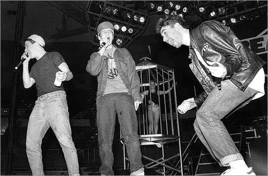 The Beastie Boys broke through with 'Licensed to Ill' in 1986, which sold over 9 million copies in the United States. Pictured: The band performing in Providence at the Providence Civic Center on April 4, 1987. From left: Mike Diamond (Mike D), Adam Horovitz (Ad-Rock), and Adam Yauch (MCA).