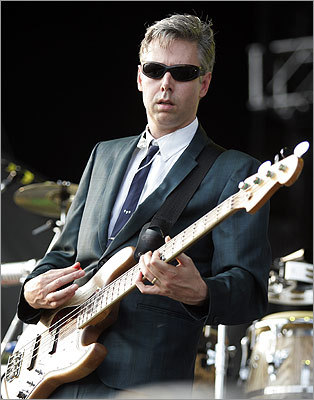 Occasionally, the Beastie Boys stepped away from the microphones and picked up instruments. Yauch manned the bass, as shown at the Virgin Festival in Baltimore on Aug. 4, 2007.