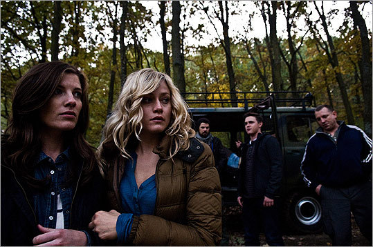 "From left: Devin Kelley, Olivia Dudley, Nathan Phillips, Jesse McCartney, and Dimitri Diatchenko in ""The Chernobyl Diaries."""