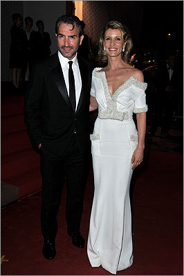 Jean Dujardin of 'The Artist' and Alexandra Lamy at the Winners Dinner Arrivals.