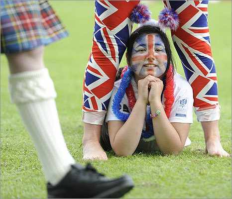 Sheyenne Bayne watched the celebrations for the the Diamond Jubilee of Britain's Queen Elizabeth in Perth, Scotland, on June 2.