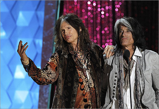 Steven Tyler (left) and Joe Perry of Aerosmith introduced Johnny Depp's performance with the Black Keys.