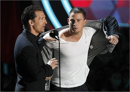 Tatum (right) started to strip until McConaughey told him to cool it.