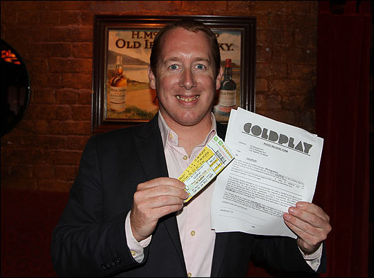 The highlight of the evening was a drawing for two Coldplay tickets, along with a photo pit pass and meet and greet with the band. Michael Ratty of the South End was the lucky winner. When asked who he will bring to the exclusive event: 'If I don't bring my fiance Amy, I'll be sleeping on the couch.'