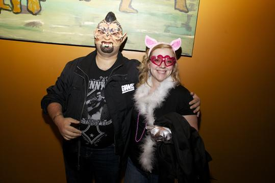 North End residents Matt Woolf, a rockabilly ghoul, and Allie Karpowicz as Miss Piggy.