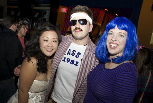 From left: Katy Pan of Somerville dressed as Maddona, Nick Genevish of Jamaica Plain as an &#147;&#146;80s retro guy born in 1981,&#148; and Mimi Kalas of Medford as Cindy Lauper.