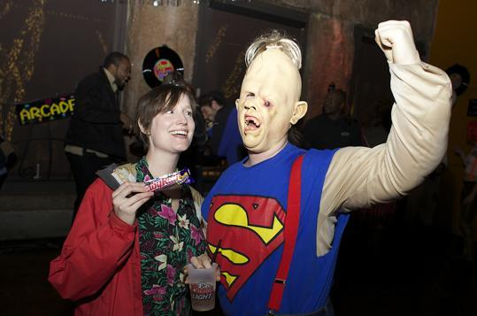 """Goonies""-inspired costumes were worn by Fiona Crimmins of Somerville as Chunk and Dede Crimmins of South Boston as Sloth."