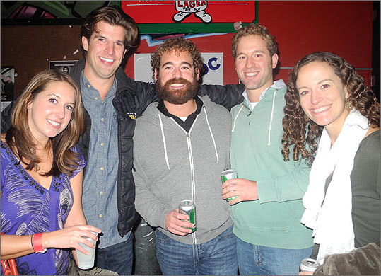 Pictured from right to left are Heather Larkin of Brookline, brothers Sean and Paul McLaughlin of Somerville, Sam Chamberlin of Somerville, and Kristen Murray of Brookline.