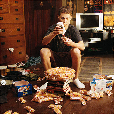 In 2007's 'Disturbia,' Shia LaBeouf kills time while under house arrest by gluing together a tower of Twinkies.