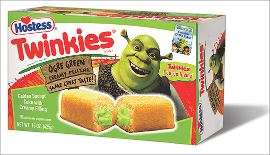 To promote 'Shrek 2,' Hostess issued a special line of Twinkies with green filling to match the film's title character.