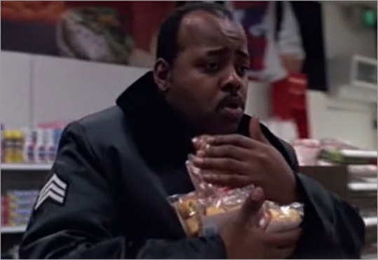 In 1988's 'Die Hard,' Reginald VelJohnson brought a new snack to the gluttonous cop stereotype. After grabbing an armload of Twinkies, a store clerk prods him, 'I thought you guys just ate doughnuts.' The sergeant responds that the treats are for his pregnant wife, but later he's shown chowing down on a Twinkie. The reference resurfaced in 'Die Hard 2' and in a 2008 episode of the NBC series 'Chuck,' in which VelJohnson gleefully resurrected the Twinkie-loving officer.