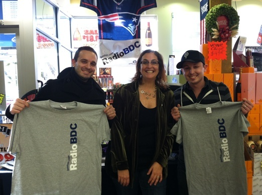Matt Favazza and Chris Favazza, showing off some RadioBDC swag with Julie Kramer, are both from Beverly.