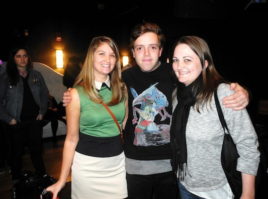 Benjamin Francis Leftwich (center) hung out after the show with fans Sarah Hutchinson (left) and Emera Trujillo.