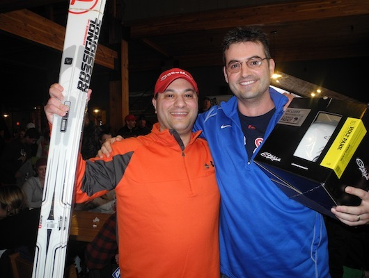 First place winner Anthony Marino (left) went home with some skis, but second place winner Ryan Clancy didn't go home empty-handed either.