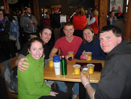 (Left to right) Michaela Bogosh, Craig Little, Keith Pixley, Jen Scolamiero and Dana Pixley, of Boston, hung out to watch the games and drink some Coors.