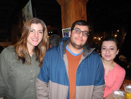 (Left to right) Erin Scholomiti, Michael Begay, and Lusine Demirchyan hung out after Erin and Lusine's first day of skiing.