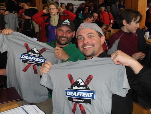Sam and Sean, from Cape Cod, hold up their new RadioBDC Coors Light Drafters shirts.