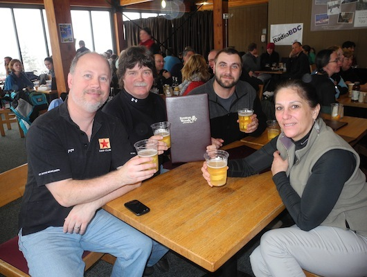 Honorary RadioBDC Coors Lights Drafters member Warren Pratt (left), Steve Lema, Brian Martin and Ann Marie enjoyed some Coors beer.