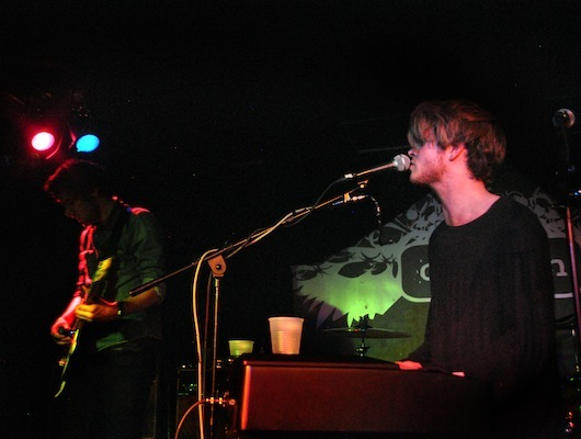 Guitarist Mark Prendergast and lead singer Stephen Garrigan on the keyboard.