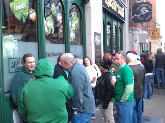 RadioBDC had a double-header on Sunday, March 16, for a wild St. Patrick's Day 2013. We started off at the Black Rose, where at 7:30 a.m., a crowd was already lining up outside, ready to get a traditional Irish breakfast and some Guinness.