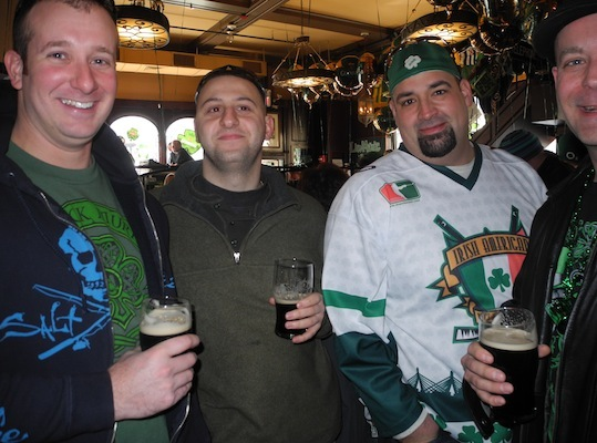 These four guys come out to The Black Rose every St. Patty's Day. It's their favorite day of the year!
