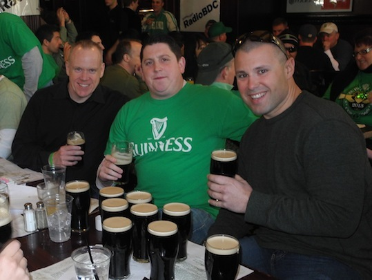 Jeff, Chris and Mike are had a breakfast of champions. They didn't hesitate to order when the beer began flowing at 10 a.m.