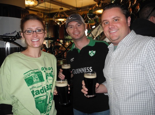 Kathryn Brockton, Richard Perry and Steven Brockett enjoyed their first Guinness of the day at The Black Rose with RadioBDC.