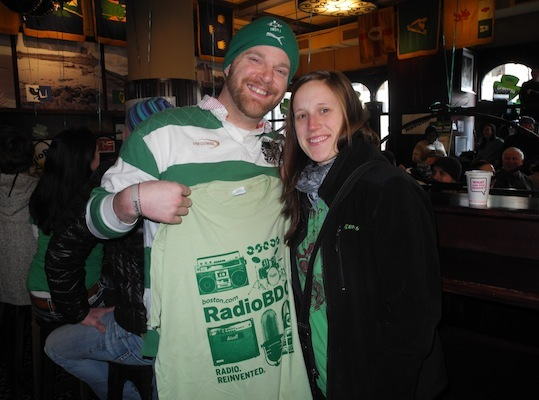 Thomas Duffy and Laura Gagnon, both from Connecticut, got hooked up with a RadioBDC shirt and some fresh Dunkin' Donuts.