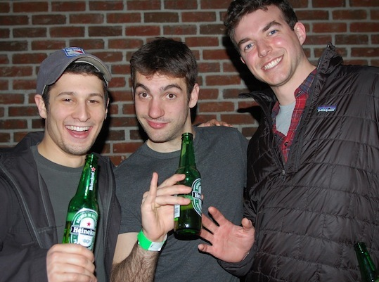 David C. of Brighton (left), Josh G. of Worcester (center), Geoff C. of Brookline (right), enjoyed some beers.