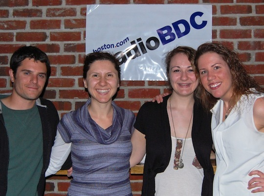 (Left to right) RadioBDC fans Kevin Krisdale of Brighton, Tamar Chobanyan of Billerica, and Alicia Taylor and Julia Yelik of Boston.