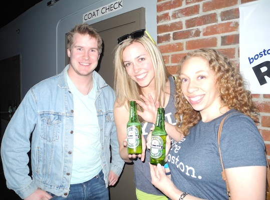 Adam Parshall, Annie Hoffman ( from The Field Effect) and Sabrina Boyd enjoyed Heinekens before heading onstage.